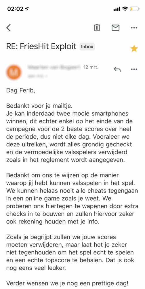 lwprod email response